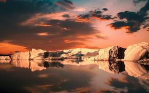 Картинка небо, облака, пейзаж, горы, озеро, рендеринг, диджитал арт
