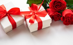 Картинка розы, лента, подарки, День Валентина, Olena Rudo