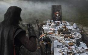 Картинка Johnny Depp, кролик, чаепитие, Alice in Wonderland, Алиса в Стране Чудес, Mad Hatter, черный плащ, …