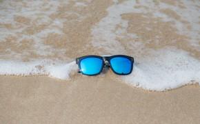 Картинка песок, море, пляж, лето, отдых, очки, summer, beach, sea, sand, vacation, sunglasses