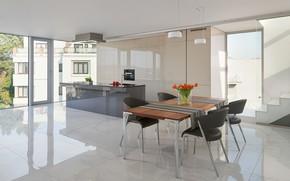 Картинка стиль, интерьер, минимализм, кухня, столовая