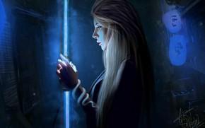 Картинка Девушка, Ночь, Неон, Лампа, Girl, Fantasy, Арт, Art, Красотка, Секси, Красивая, Cyberpunk, Nastya Shkoda ArtShkoda, …