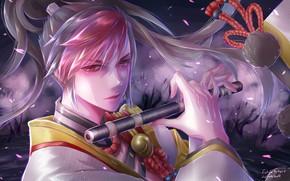 Картинка взгляд, оружие, парень, Onmyouji, Onmyouji (NetEase), Minamoto no Hiromasa