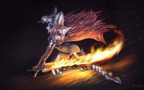 Картинка огонь, undead, warrior, dark souls, abysswalker, rule 63, огненный меч, dark souls 3, anime Wallpapers, …
