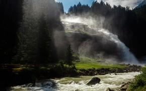 Картинка зелень, лес, вода, свет, горы, туман, река, темный фон, ручей, камни, скалы, берег, течение, водопад, …