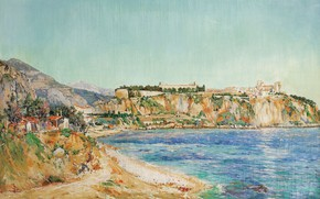 Картинка пейзаж, 1895, Вид Монако, Paul Place-Canton, Пол Плейс Кантон