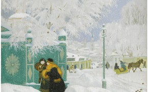 Картинка 1919, Boris Mikhailovich Kustodiev, WINTER SCENE, oil on board
