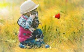 Картинка Flower, Camera, Child, Photo Shooting