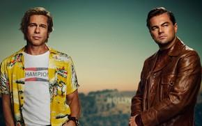 Картинка актёры, Брэд Питт, Brad Pitt, постер, мужчины, Леонардо ДиКаприо, Leonardo DiCaprio, Once Upon a Time …