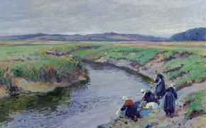 Картинка пейзаж, картина, 1910, Paul Madeline, Пол Медлин, Прачки у Реки