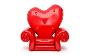 Картинка красное, сердце, кресло, белый фон, День святого Валентина