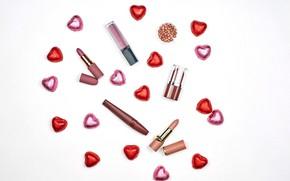 Картинка сердце, блеск, помада, конфеты, косметика