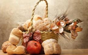 Картинка цветы, корзина, хлеб, натюрморт, гранат