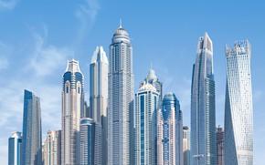 Картинка Небо, Город, Дом, День, Здания, City, House, Дубай, Архитектура, Dubai, Небоскреб, UAE, United Arab Emirates, …