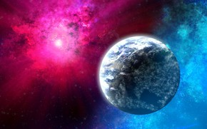 Картинка космос, лучи, планета, свечение, звёзды, объект