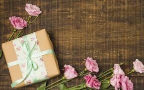 Картинка праздник, подарок, букет, эустома, день рождение