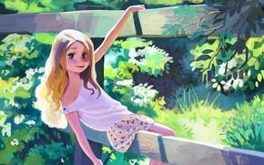 Картинка лето, трава, деревья, рисунок, забор, арт, девочка
