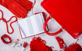 Картинка красный, стиль, перчатки, блокнот, сумка, аксессуары, Olena Rudo