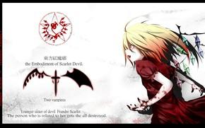 Картинка эмблема, красные глаза, вампирша, Touhou Project, Flandre Scarlet, проект Восток, руки в крови, by Maeda …