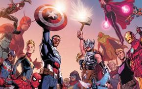 Картинка fantasy, Hulk, Iron Man, Marvel, comics, Captain America, superheroes, The Avengers, Spiderman, Ant Man, Thor …