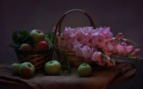 Картинка лето, цветы, яблоки, август, натюрморт, гладиолусы