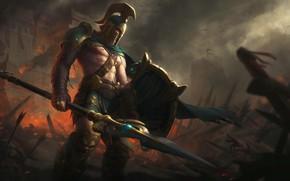 Картинка поле, смерть, воин, солдат, шлем, копье, битва, щит, спарта, битвы, грек