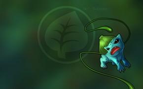 Картинка аниме, grass, плеть, лоза, покемон, pokemon, bulbasaur, луковица, бульбасавр, травяной, бульбазавр