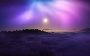 Картинка colorful, nature, night, mountains, clouds, stars, sun, night sky, purple, landscape beautiful, beautifful landscape, night …