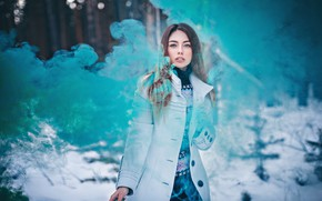 Картинка взгляд, девушка, дым, пальто, Антон Харисов