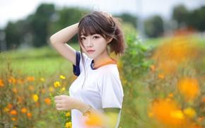 Обои поле, трава, взгляд, девушка, солнце, деревья, цветы, модель, портрет, макияж, прическа, шатенка, азиатка, в белом, ...