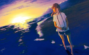 Картинка море, девушка, закат, фотоаппапрт