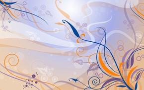 Картинка цветы, оранжевый, синий, сиреневый, узор, вектор, арт, Фон, Текстура
