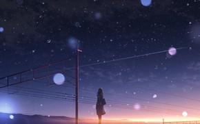 Картинка небо, девушка, снег, закат, полумесяц