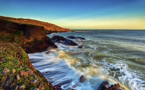 Картинка волны, Ирландия, робережье