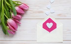 Картинка любовь, цветы, сердце, букет, тюльпаны, love, розовые, heart, pink, flowers, beautiful, romantic, tulips, valentine's day, ...