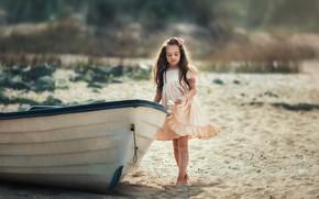 Картинка песок, природа, лодка, девочка, ребёнок, Анастасия Бармина, Бармина Анастасия