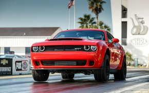 Картинка Red, SRT, Demon, Drag Racing, Dodge Challenge