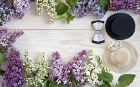 Картинка цветы, шляпа, white, wood, flowers, сирень, spring, lilac
