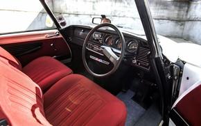 Картинка Красный, Салон, Руль, Интерьер, Citroën DS, Передняя панель
