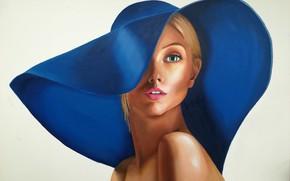 Картинка взгляд, девушка, лицо, стиль, картина, шляпа