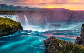 Картинка sky, landscape, nature, sunset, water, mountains, clouds, rocks, waterfall, Iceland, moss, long exposure, Godafoss falls