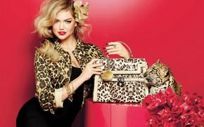 Обои девушка, украшения, улыбка, стиль, леопард, сумка, жакет, Kate Upton