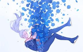 Картинка розы, аниме, арт, парит, Yuri on Ice, Виктор Никифоров
