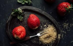 Картинка ягоды, клубника, сахар