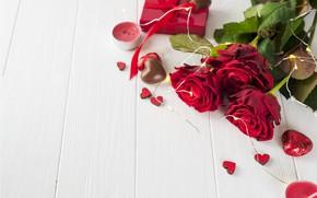 Картинка цветы, подарок, розы, букет, сердечки, красные, red, love, flowers, romantic, hearts, chocolate, valentine's day, roses, …