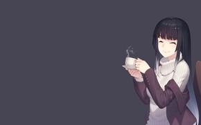 Картинка девушка, аниме, арт, пар, чашка