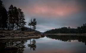 Картинка деревья, пейзаж, горы, природа, озеро, отражение, камни, рассвет, утро, Болгария, Александров Александър, Shiroka Polyana, Широка …