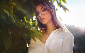 Картинка девушка, очки, рубашка, Кристина, Alexander Drobkov