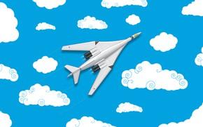 Картинка Облака, Минимализм, Самолет, Истребитель, Россия, Арт, Вид сверху, Белый Лебедь, Ту 160, Ту-160, ВВС России, …