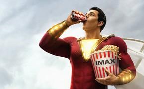 Картинка герой, костюм, попкорн, cola, hero, газировка, DC comics, Шазам, shazam, IMAX, 2019, Билли Бэтсон, Закари …